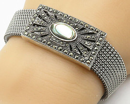 925 Silver - Vintage Abalone Marcasite Accented Stretchy Chain Bracelet ... - $102.93