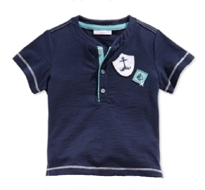 First Impressions Baby Boys' Nautical Henley Shirt, Navy, Size 12M - $8.90