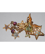 "KIRK'S FOLLY signed ""Johnny Angel"" Fairy Stars BROOCH Pin - 2 1/2 inches long - $37.50"