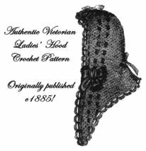 Victorian Hood Fascinator Crochet Pattern c1885 Dickinson Penny Dreadful... - $5.99