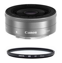 CANON EF-M 22mm F2 STM Silver + HOYA UX UV 43mm Filter - $255.07