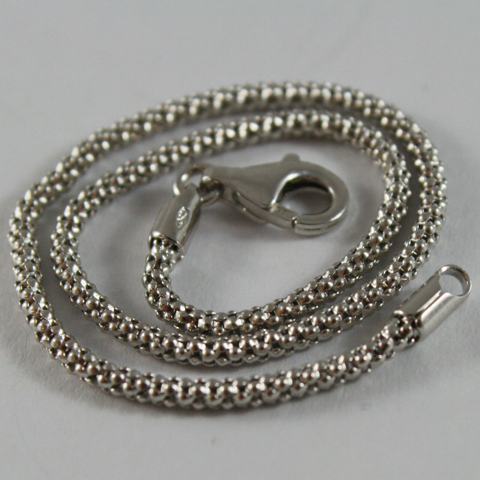18K WHITE GOLD BRACELET, BASKET ROUND MESH, 7.50 INCHES LONG, MADE IN ITALY