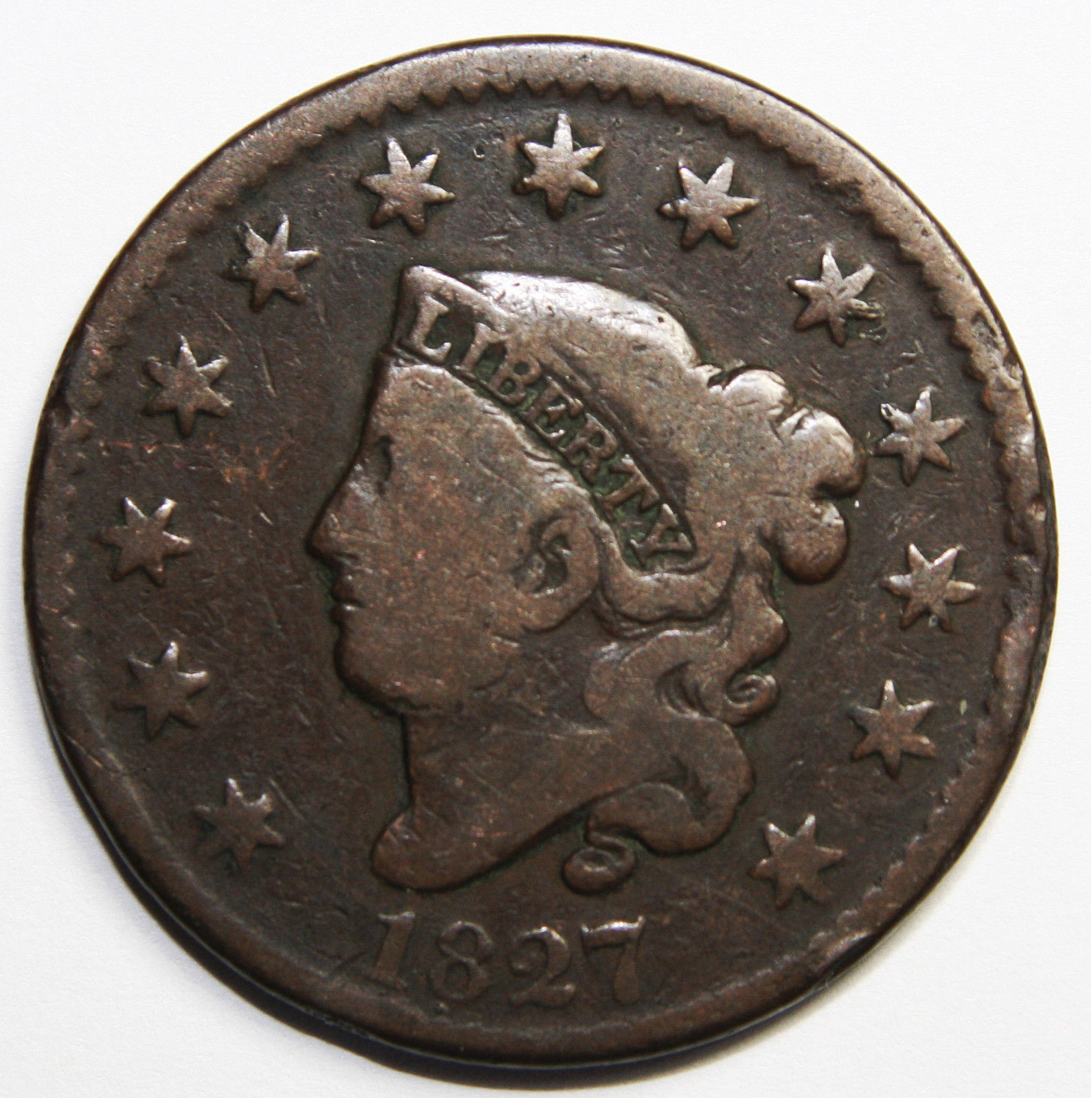1827 Large Cent Liberty Coronet Head Coin Lot # MZ 4088
