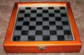 Vintage Mirror Top Wood Case Chess Board w/ Clear & Frosted Glass Playin... - $23.74