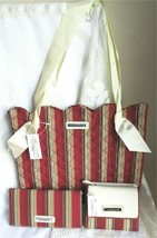 Longaberger 3 Piece Holiday Stripe Tote, Wallet, Checkbook Cover Brand N... - $34.00