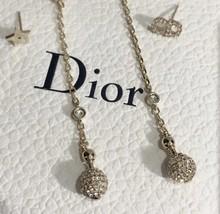 NEW AUTH Christian Dior 2019 LA PETITE TRIBALE EARRINGS CD CRYSTAL Pearl Dangle  image 5