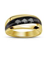 Black Diamond Mens Anniversary Band Ring 14k Gold Over 925 Sterling Soli... - $80.99