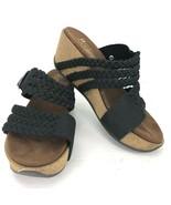 White Mountain Chantilly 5 M Black Leather Braided Wedge Platform Sandal... - $59.39