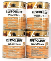 4 Cans Rust-Oleum 32oz Ultimate Wood Stain 344722 Golden Pecan Dries In ... - $47.99