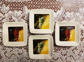 """Cypress Home 4 Condiment Sauce Dipping Dishes 3 1/2"""" Square Red & Green ... - $22.00"""
