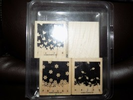 2006 Stampin' Up Gently Falling Love Peace Enjoy Thanks Rubber Stamp Set Of 4 - $23.49