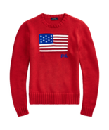 Polo Ralph Lauren Womens Flag Cotton Sweater 483833 Red Sizes S - M NWT - £99.31 GBP