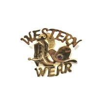 """Gold """"Western Wear"""" Pin with Red Stone Accent - $10.00"""