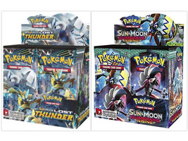 Pokemon TCG Sun & Moon Lost Thunder + Guardians Rising Booster Box Bundle - $209.99