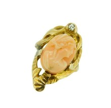 14k Yellow Gold Art Nouveau Genuine Natural Coral Cameo Ring (#J4550) - $350.00