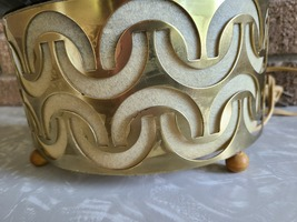 MCM Gold and Black Stringy TV Lamp Planter image 4