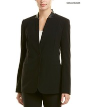 New Tahari Ella Faux Leather Trim Blazer Black Size 12P - $69.29