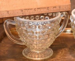 Moonstone HOBNAIL Cream Creamer & Sugar Bowl WHITE ART GLASS Vintage FENTON image 7