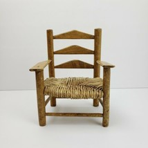 Vintage Wood Ladder Back Doll Chair Woven Seat - $19.99