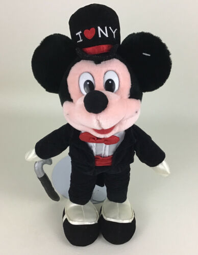 "Primary image for Disney Store Original Mickey Mouse Tux Top Hat I Love New York 15"" Plush Stuffed"