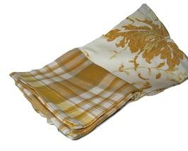 Ralph Lauren GOLDEN ROD Set of 2 Kitchen Tea Towels 100% COTTON PLAID/FL... - $29.60