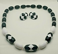 "Fashion Jewelry Black White Geometric Bead 20"" Necklace & Pierced Earrin... - $14.24"