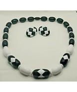 "Fashion Jewelry Black White Geometric Bead 20"" Necklace & Pierced Earrin... - $14.24"