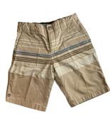 Boys Micros Adjustable Waist Khaki Striped Shorts Snap Zip 4 Pockets Sz 7 - $10.88