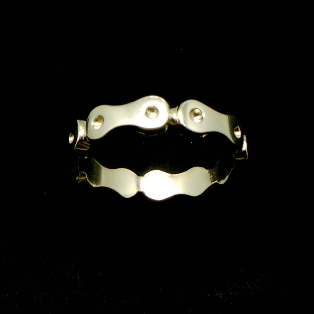 Handmade 925 Sterling Silver Bicycle Chain Ring - Sizable from US 4 - 14