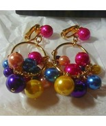 "Vintage AVON Luscious Cluster Clip Earrings Multi-color 2"" Long - $18.99"