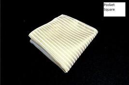 Mens Yellow/ White Stripe Pocket Square Dressy Handkerchief W/ Light To ... - $5.00