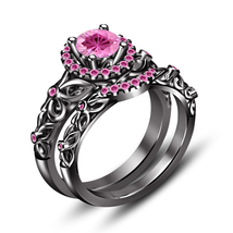 Women's Wedding Ring Set 925 Sterling Silver 14k Black Gold Finish Round Pink CZ - $77.89