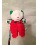 Vintage Eden Kids Gift Christmas Teddy Bear Plush Rattle Toy HTF Red Whi... - $59.39