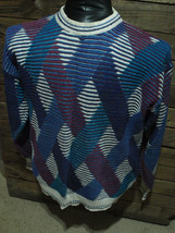 Vintage 80sALEXANDER JULIAN COLOURS Sweater Cotton Knit Coogi Style/RETR... - $13.49