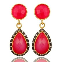 18K Yellow Gold Plated Sterling Silver Pink Chalcedony CZ Drop Earrings ... - $54.44
