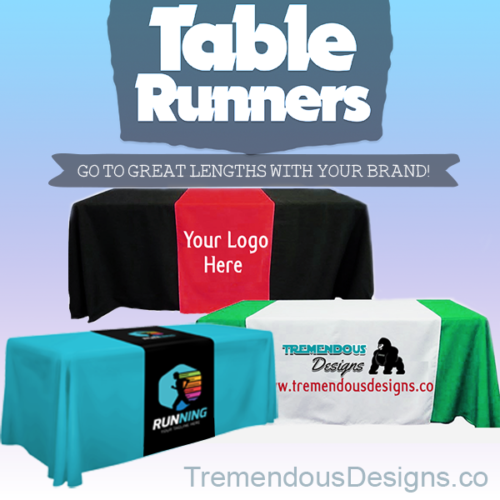 "Customize Table Runner with your logo or Design From 48""x72 to  48""x90""  Great f"
