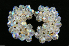 Vintage Gold Tone Aurora Borealis Beads Crystal Cluster clip on Earrings - $55.40
