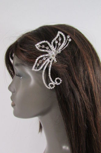 Women Silver Metal Head Fashion Jewelry Butterfly Hair Pin Bridal Wedding Party image 7