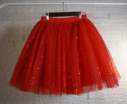 Women Mini Tutu Tulle Skirt A-line Layered Puffy Tutu Outfit Red White Pink Gray image 10