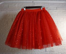 Women Girl Sparkle Tulle Skirt Mini Tulle Skirt A-line Red White Pink Gray image 10