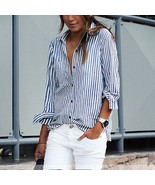 Fashion Women's Summer Striped Shirt Long Sleeve Loose Casual Blouse Cot... - $15.19