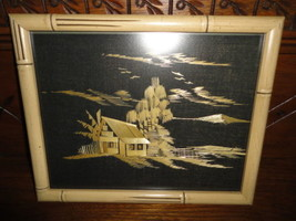 Vintage Framed Asian Art Bamboo Straw Painting House Scene Woven Material - $375.25
