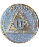 2 Year AA Medallion Opal Silver Glitter Tri-Plate Sobriety Chip - £11.72 GBP