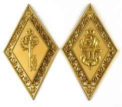 Dart Ind Diamond Wall Plaques 4271 Key & Lock Made in USA Vintage Set of 2 - $19.79