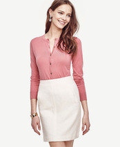 Ann Taylor Cardigan M Pink Blush Rose Signature Cotton Crew Neck Long Sleeve New - $39.99