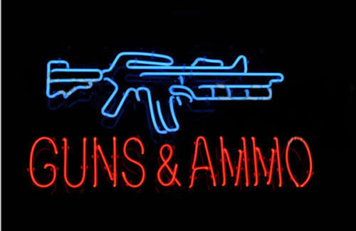 """New GUNS AND AMMO Shop Beer Man Cave Neon Sign 20""""x16"""" Ship From USA"""