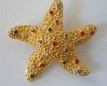 Vintage Starfish Brooch Pin Multi Color Rhinestones Granulation Texture Gold pl