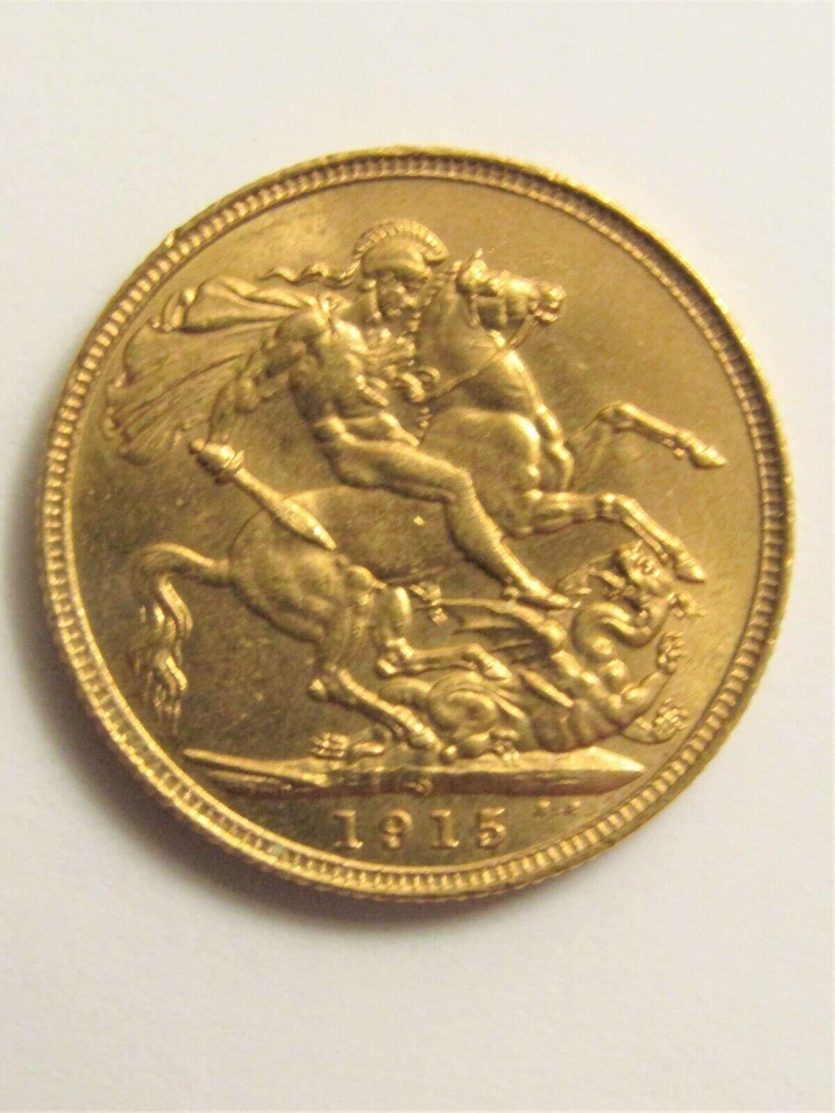 1915 22K Yellow Gold Coin GEORGIVS V D.G. BRITT OMN: REX F.D. IND : IMP :