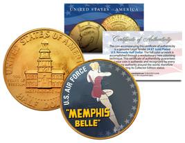 1976 Bicentennial JFK Half Dollar * WW II MEMPHIS BELLE* 24K Gold Plated... - $8.86