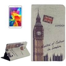 For Galaxy Tab 4 8.0 Big Ben Pattern Leather Case with Holder - $13.99